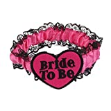 Nalmatoionme Bride To Be Hen Night Lace Garter Party Gift Black Lace on Pink