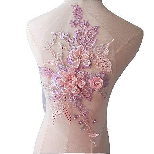 Kostüm Für Applikationen Perlen Tanz - Mit Perlen besetzte 3D-Braut-Spitze, Applikationsstickerei, geschnürtes Motiv 41cm * 22cm Violett/Pink