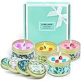 LA BELLEFÉE Bougie Parfumées, 4 Bougies Florales, Cire de Soja Naturelle, Coffret Cadeau pour Bain, Maison, Décoration, d'Int
