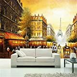Wemall France Eiffel Tower Golden Paris wallpaper para el mejoramiento de la sala de estar papel pintado moderno Fondo Pintura mural, 400x280 cm (157.5 por 110.2 in)