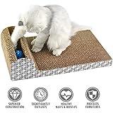 [Gesponsert]ubest Kratzbrett für Katzen mit Katzenminze, 45.72*24.13*11.43CM, Kratzbaum, Kratzmöbel, Haustier Spielzeug