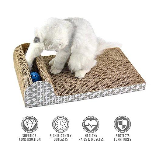 ubest Kratzbrett für Katzen mit Katzenminze, 45.72*24.13*11.43CM, Kratzbaum, Kratzmöbel, Haustier Spielzeug