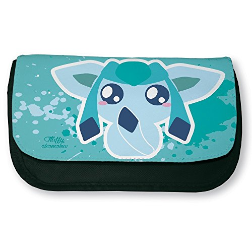 Trousse noire de maquillage ou d'école Pokemon Givrali / Glaceon Chibi Kawaii by Fluffy chamalow- Fabriqué en France - Chamalow shop