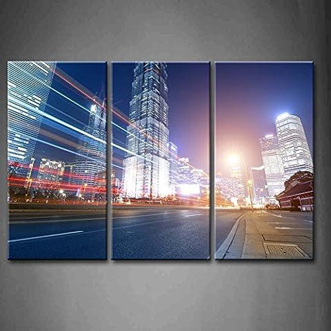 3panneau mural art The Light Trails sur le fond de
