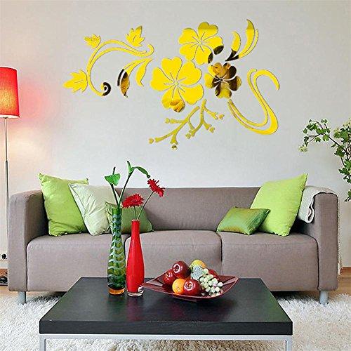 LETTER® 3D schöner Blumen-Spiegel-Vinyl entfernbarer Wand-Aufkleber (Gold)