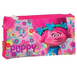 Trolls–Estuche escolar Triple cremalleras los Trolls Poppy Happy