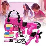 Smibie Frisierkoffer kinder Schminkenspielzeug Kosmetik Set mit elektrischem Fön Rollenspiel Spielzeug Kinder Mädchen Beauty Set Pretend Makeup Spielzeug