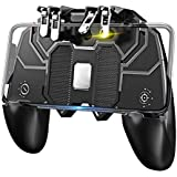 "CEUTA® Mobile Game Controller with L1R1 L2R2 Triggers, PUBG Mobile Controller 6 Fingers Operation, Joystick Remote Grip Shooting Aim Keys for 4.7-6.5"" iPhone Android iOS Cellphone Gamepad Accessories"