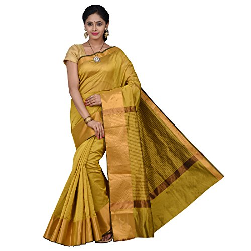 Korni Women's Cotton Silk Saree (KR0396_Gold)