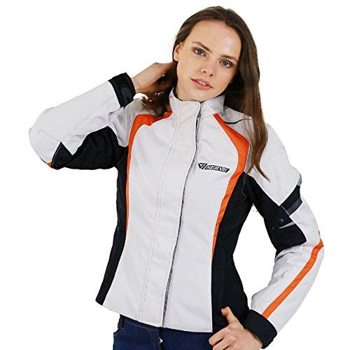 Nerve Artemis Damen Motorrad Jacke, Weiß/Schwarz, 38 Motorrad Safety Jacket