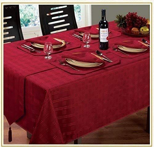 Lujoso moderno Navidad Woven Check Jacquard rojo vino