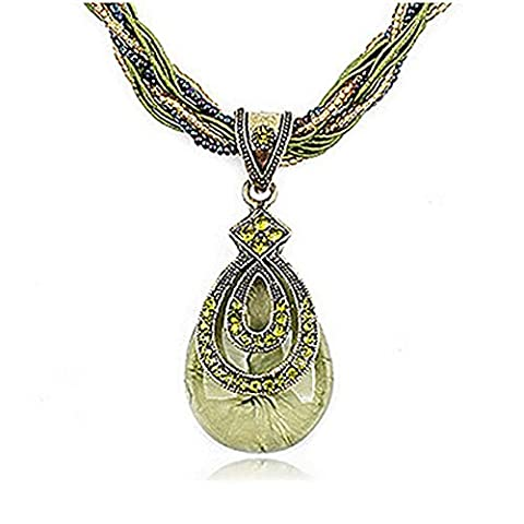 Kaariag Punkin Tear-drop Shape Pendant Bohemia Retro Necklace(Green) by Kaariag Punkin