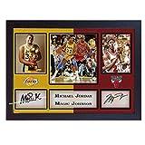 SGH SERVICES Gerahmtes Autogramm, Michael Jordan Magic Johnson, NBA Chicago Bulls LA Lakers, Autogramm, Basketball Memorabilia, NBA signiertes Autogramm, gerahmt