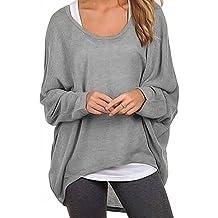 Meyison Damen Lose Asymmetrisch Sweatshirt Pullover Bluse Oberteile Oversized Tops T-shirt