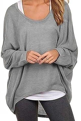 Meyison Damen Lose Asymmetrisch Sweatshirt Pullover Bluse Oberteile Oversized Tops T-shirt Grau-M