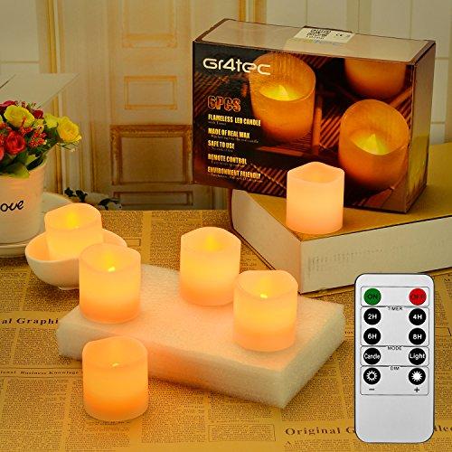Fernbedienung Teelicht (Gr4tec 6er Teelichter LED Kerzen elektrisch Flammenlose Echtwachskerze mit Fernbedienung Timerfunktion Kerze)