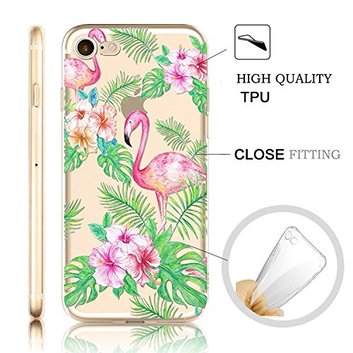 iPhone 7 Coque iPhone 7 Etui iPhone 7 Housse Case Cover,MingKun Ultra-Thin Crystal Clear TPU Silicone Clair Transparente Coque pour iPhone 7 Ultra Mince Premium Transparent Etui pour iPhone 7 Exact Fi Flamingos TPU-2
