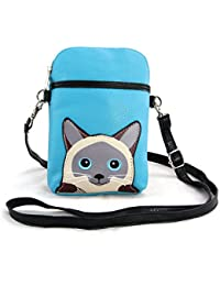 Sleepyville Critters - Siamese Cat Small Pouch Shoulder Bag In Vinyl Material