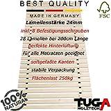 TUGA - Holztech unbehandeltes einlegefertiges reines Naturprodukt FSC - Holz 28 LEISTEN 300Kg Flächenlast in der Größe 160 x 200 cm ROLLROST Lattenrost Qualitätsarbeit gefertigt in Deutschland inkl Befestigungskit mit 5 Jahren Garantie