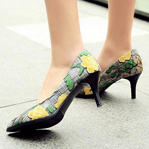 TAOFFEN Damen Mode Kitten Heel Pointed Toe Blume Print Pumps Gelb