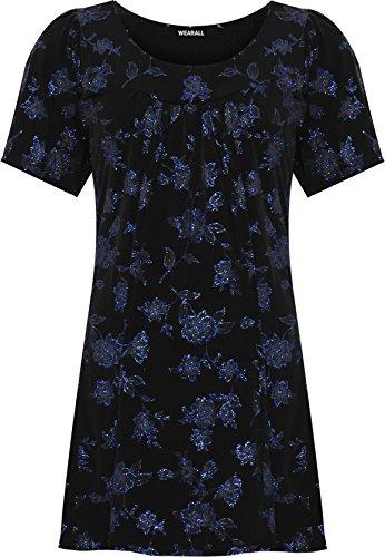 WEARALL Damen Plus Blumen Glanz Party Top Damen Kurz Hülle Scoop Hals Glanz - 44-56 Königsblau