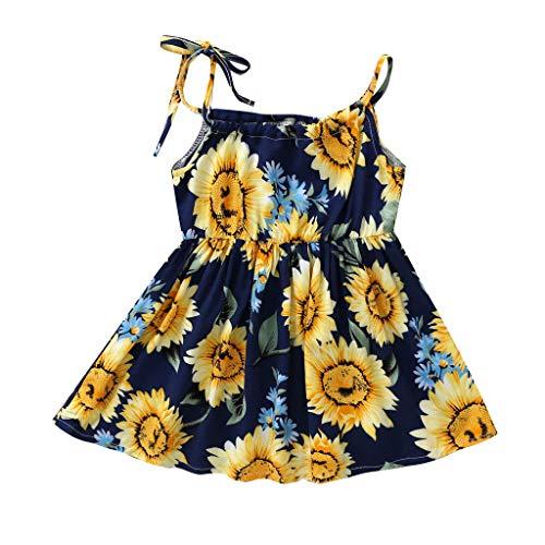 Julhold Sommer Kleinkind Baby Mädchen Nette Prinzessin Blumen Sonnenblumen Strandparty Lässige Kleid Kleidung 3-24 Monate