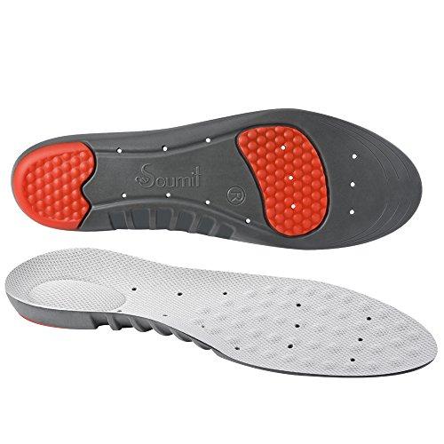 Soumit Solette Ultra Soffice Antiurto per Sport M (EU 38-41), Soletta Comfort Traspirante con Sostegno dell'Arco Plantare, Eccellente Assorbimento degli Impatti per Correre Jogging (Grigio)