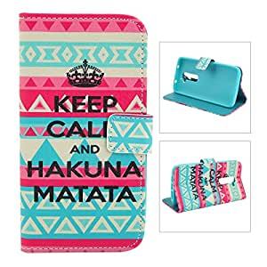 Etui pour téléphone mobile - Fashionable Keep Calm and Hakuna Matata Tribal Pattern Protective PU Leather Case with TPU Back Shell for LG G2