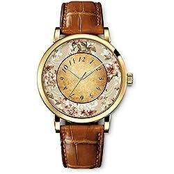 Quarz Uhr Lederarmband Uhr Top Watch Retro Muster Braun Armband von iCreat