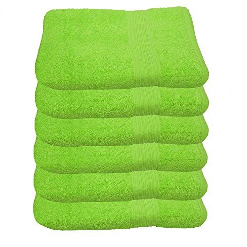 6er Pack Handtuch Julie Julsen in 29 Farben erhältlich weich und saugstark 500gsm Öko Tex Apfelgrün 50 x 100 cm B-Ware
