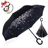 Parapluie Inversé,Parapluie Canne,Double Couche Coupe-Vent, Mains Libres poignée en forme C, Idéal pour Voiture et Voyage(Fleur de pêche)