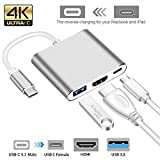 #6: CASE U USB Type C Hub HDMI 4K Adapter USB-C to HDMI Converter with 3.0 USB Port and Type C 3.1 Female Charging Port for MacBook Pro, Surface Book/Pro3/Pro4, ChromeBook Pixel and More (Silver)