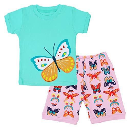 EULLA Mädchen Schlafanzug Kurz Einhorn Kinder Baumwolle Pyjama Schlafanzug Hosen Oberteile, 2-schmetterling, 92(Herstellergröße:3T) 3t-hose