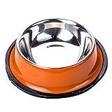 Pet bowl Haustierschüssel Hundeschüssel Hundefutterschüssel Katzenschüssel Katzenfutterschüssel Haustierschüssel Hundeschüssel Edelstahl (Farbe : Orange, Größe : 26 * 5.5cm)