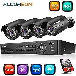 FLOUREON Système de Vidéosurveillance 8CH H.264 DVR 1080N ONVIF + 4pcs 1080P Caméra de Sécurité 2.0MP 3000TVL Accès à Distance via Téléphone/PC Disque Dur de 1TB