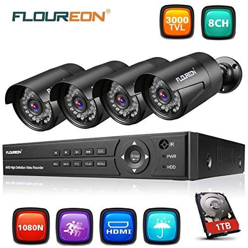 FLOUREON Kit CCTV Vidéosurveillance DVR 8CH ONVIF Enregistreur AHD 1080N + 4 Caméras HD 1080p 3000TVL 2,0MP Etanches pour l'Extérieur 1 To Disque Dur Inclus ( Vision Nocturne, Détection de Mouvement, Alerte par Mail, Système Cloud, Sauvegarde par USB)