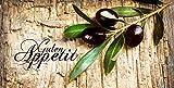 Artland Design Spritzschutz Küche I Alu Küchenrückwand Herd BxH: 110x55 cm sehr schnelle und einfache Montage Oliven vor Einem Holzhintergrund - Guten Appetit