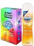 1x Durex wärmend Gleitgel 50ml + 1x Skins Kondome (12Stück Retail Box Pack) Combo Deal