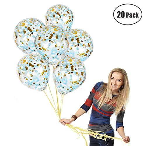 Gold 20 Stück Confetti Balloons Gold Rund Konfetti, Hellblau Konfetti, Transparent Latex Ballon | Top-Qualität Baby-Dusche, Graduierung Dekorationen ()