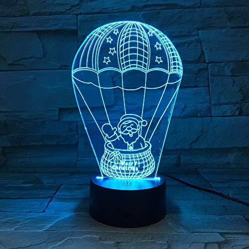 Weihnachtsmann Im Heißluft-Ballon 7 Farblampe 3D Führte Nachtlichter Für Kinder Noten-Weihnachtsfest- Geschenk