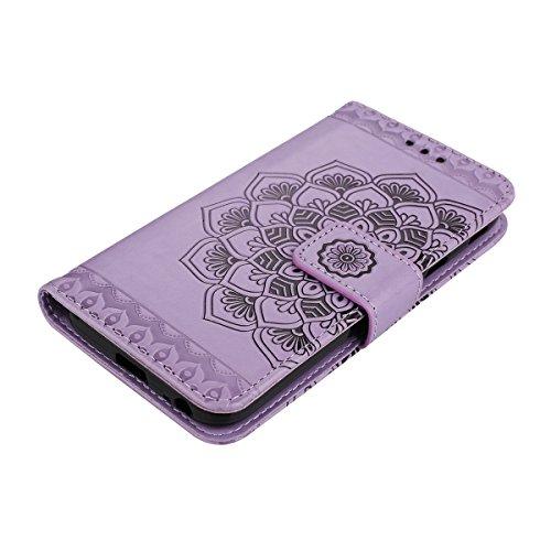 Custodia per Samsung J7 2017 (Versione europea), Galaxy J7 2017 (Versione europea) Cover a libro, iphone X Cover Flip, MoreChioce Lusso Bookstyle Flip PU Pelle Cover Moda Design Modello Gatti e alberi Mandala-Purple
