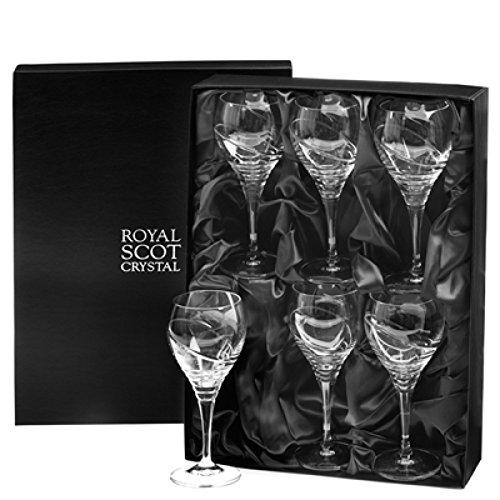 Box Set von sechs Kristall Saturn Design Große Weingläser in Geschenkbox von Royal Scot Kristall