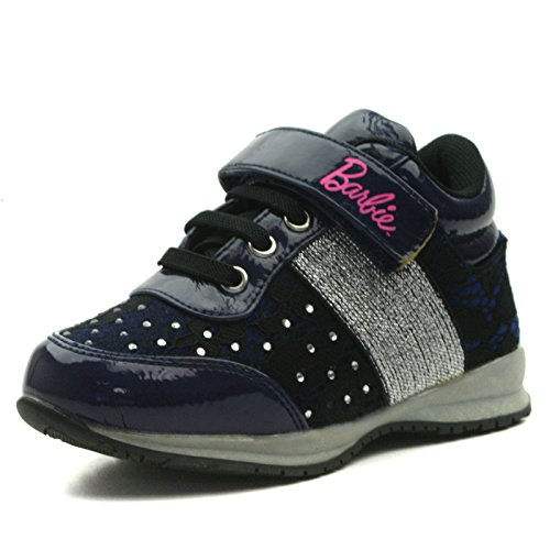 BA103 Barbie Shoes Girls Sporty Shoe with Velcro Strap in Navy Blue with Lace & Strass Trim Taglia 28