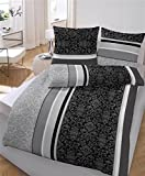 soma Biber Bettwäsche 4 teilig Bettbezug 135 x 200 cm Kopfkissenbezug 80 x 80 cm anthrazit Barock Blume