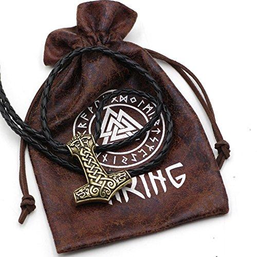 Klassisches Amulett im Wikinger-Stil mit Odin-Gesicht und zwei Wikinger-Wölfen. Anhänger, Halskette, Nordisches Design, Edelstahl, Bronze, Leder