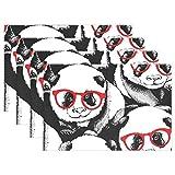 SENNSEE Lustige Tier Panda Muster Tisch-Sets Home Teller Fußmatte für Esstisch hitzebeständig Küche Tisch Matte Kinder 30,5x 45,7cm, Polyester, Mehrfarbig, 12x18x4 in