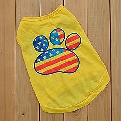 CY-buity verano prendas de vestir verano de perro pequeño mascota perro ropa camiseta huella Impreso Chaleco Amarillo