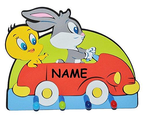 3-D Kindergarderobe - Looney Tunes Tweety Bugs Bunny Auto incl. Namen - mit 4 Kleiderhaken Moosgummi - Garderobenhaken Wandhaken Kinder Garderobe Kind Wandgarderobe Haken  Kinderzimmer