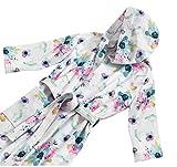 HomeLife–Albornoz con Capucha para Mujer de Esponja–Albornoz Suave con Elegante impresión Digital con Flores–Bolsillo Frontal y cinturón–Producto Made in Italy (Small, Tono Rosa)