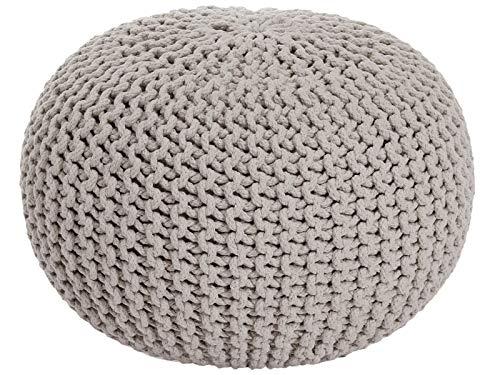 casamia Strickhocker Pouf Ø 55 cm Sitzpouf Sitzpuff Grobstrick-Optik extrahoch Höhe 37 cm beige